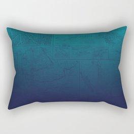 Blue Ombre Map Rectangular Pillow