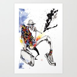 Hunter S Thompson by BINDU Art Print