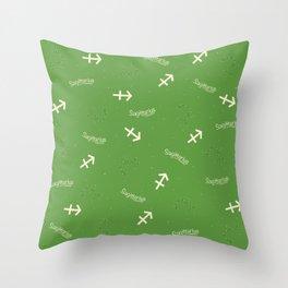Sagittarius Pattern - Green Throw Pillow