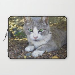 Grey cat with green eyes Laptop Sleeve