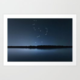 Orion star constellation, Night sky, Cluster of stars, Deep space, Hunterconstellation Art Print