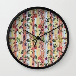 Wild Flowers on Stripes Wall Clock