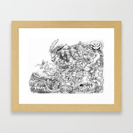 Anime Characters Doodle Framed Art Print