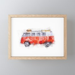 Camper Bus - retro camping van painting / illustration Framed Mini Art Print