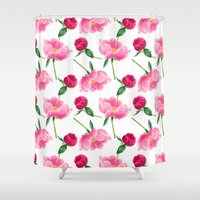 peonies Shower Curtains featuring Peonies by Inna Moreva