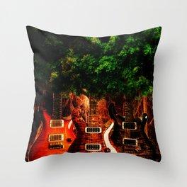 Tree Guitar Throw Pillow