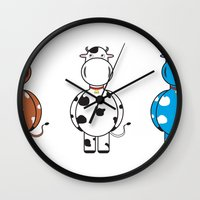 cows Wall Clocks featuring COWS by thestalewhale