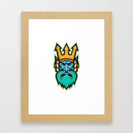 Poseidon Greek God Mascot Framed Art Print