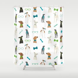 Sighthounds Pattern Green Shower Curtain