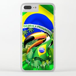 Toco Toucan with Brazil Flag Clear iPhone Case