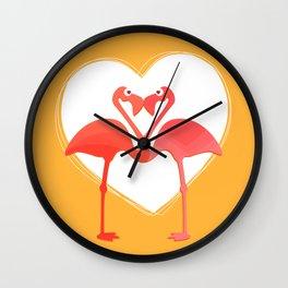 lovebirds - flamingos in love Wall Clock