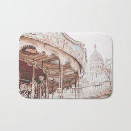 Montmartre Paris Carousel with Sacre Coeur Bath Mat