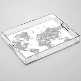 Grayscale watercolor world map with cities Acrylic Tray