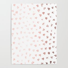Rose Gold Pink Polka Splotch Dots on White Poster
