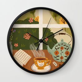 Tea Time by the Window Wall Clock