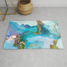 Arctic Blue And Gold Glamour Rug