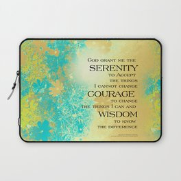 Serenity Prayer Blue Gold Flowers Laptop Sleeve