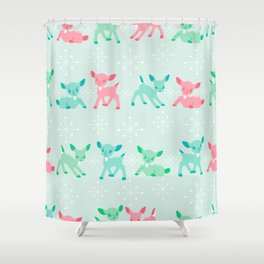 Pink, Turquoise, and Jadeite Deer Shower Curtain