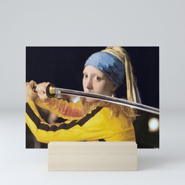 "Vermeer's ""Girl with a Pearl Earring"" & Kill Bill Mini Art Print"