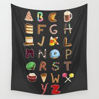 dessert Wall Tapestries featuring Dessert Alphabet  by Shana Marie