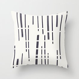 Abstract broken lines - black on off white Throw Pillow