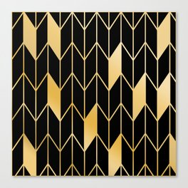 Geometric Gold Chevron Pattern on Black Background Print Canvas Print