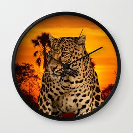 Leopard and Sunset Wall Clock