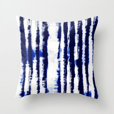 Tie-Dye Shibori Stripe Blue Throw Pillow