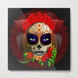 Skull Girl Dia de los Muertos Portrait Metal Print