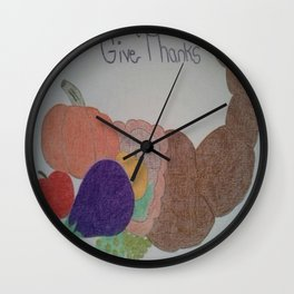 Thanksgiving Cornucopia Wall Clock
