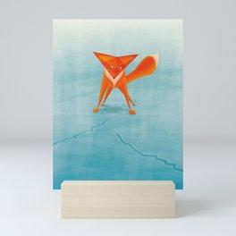 Fox on ice Mini Art Print