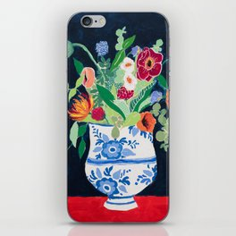 Bouquet of Flowers in Blue and White Urn on Navy iPhone Skin