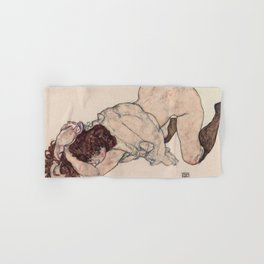 KNEELING GIRL, RESTING ON BOTH ELBOWS - EGON SCHIELE Hand & Bath Towel