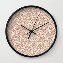Sherwin Williams Cavern Clay SW 7701 Abstract Multi Sized Triangle Shape Pattern on Creamy Off White Wall Clock
