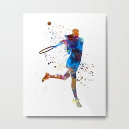 Woman tennis player 03 in watercolor Metal Print