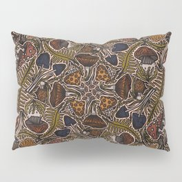 Funghi & Fern Forest, Fall Colors , Foraging for Woodland Mushrooms Brown, Orange Purple Pillow Sham