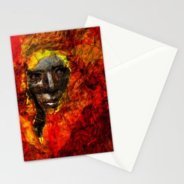 Face in the fire Stationery Cards