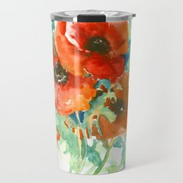 Red Poppies, Red flowers, French Country Travel Mug