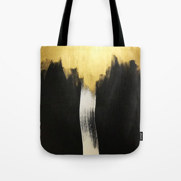 Gold Abstract Art Wall Decor Acrylic Painting Oil Canvas Abstract Painting Tote Bag By Ronderi