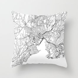 New Haven Map White Throw Pillow