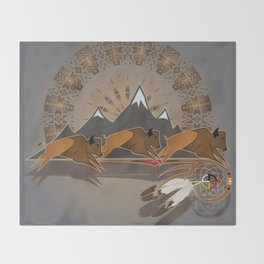 Native American Indian Buffalo Nation Throw Blanket