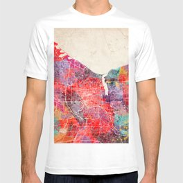Rochester map New York painting 2 T-shirt