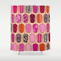 nail polish Shower Curtains featuring Nail Art by Tals