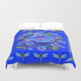 BLUE MORNING GLORIES DRAGONFLIES ART Duvet Cover