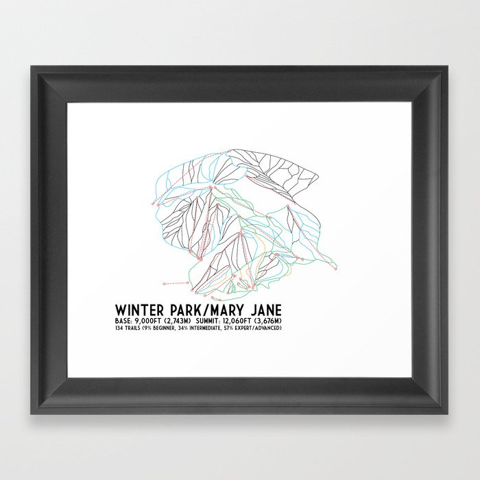 Winter Park/Mary Jane, CO - Minimalist Trail Art Gerahmter Kunstdruck