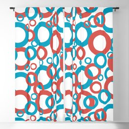 Blue Green, Red, White Geometric Ring Pattern 2021 Color of the Year AI Aqua 098-59-30 Blackout Curtain