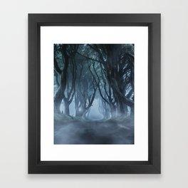 Very cold foggy morning at Dark Hedges Framed Art Print