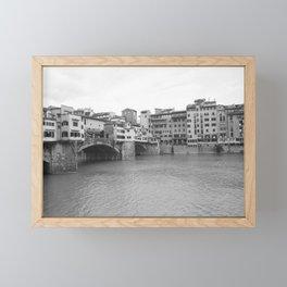 Black and White Ponte Vecchio Framed Mini Art Print
