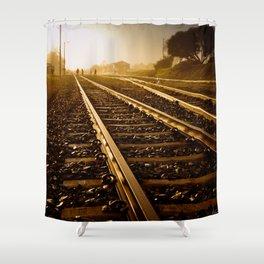 Railway Tracks at sunrise and twilight sky - Landscape Photography #Society6 Shower Curtain