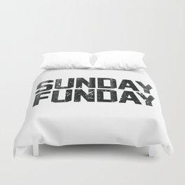 Sunday Funday Dirty Vintage Varsity Typography Print Duvet Cover